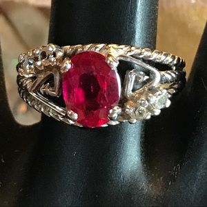 SOLID 10K WHITE GOLD AND LAB CREATED RUBY (6.5)